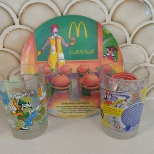 McDonald's Collectible Plate And Glasses